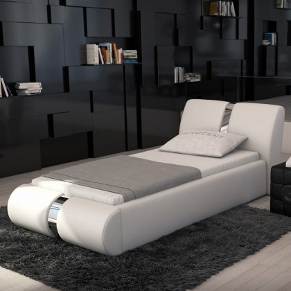 neu leder bett oscar jugendbett 90 x 200 cm weiss lederbett bettgestell 45217410 ebay. Black Bedroom Furniture Sets. Home Design Ideas