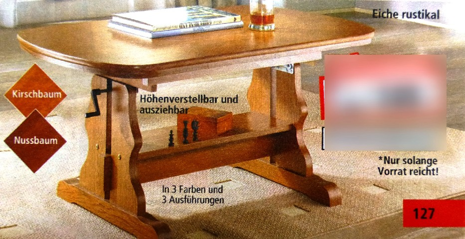 couchtisch kirschbaum h henverstellbar ausziehbar tisch m bel beistelltisch ebay. Black Bedroom Furniture Sets. Home Design Ideas