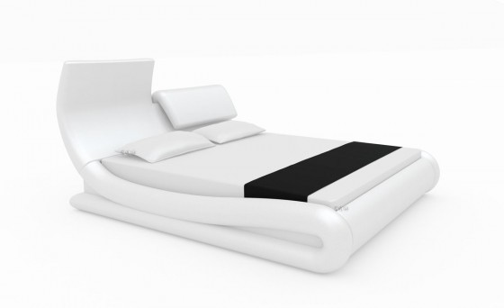 neu lederbett 140x200 cm sun weiss kunstleder bett. Black Bedroom Furniture Sets. Home Design Ideas