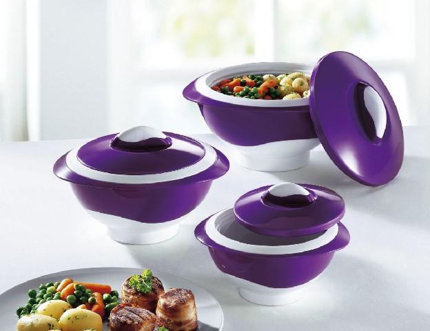 3 Thermoschüssel weiß grün Aufbewahrung Schüssel Schale Küche ...