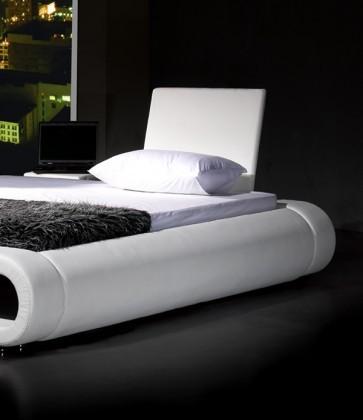 neu lederbett 180x200 cm randy weiss kunstleder bett. Black Bedroom Furniture Sets. Home Design Ideas
