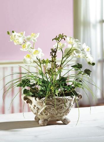 Tischgesteck orchideen gesteck kunstblume dekoration kunstpflanze wohnen ebay - Dekoration mit orchideen ...