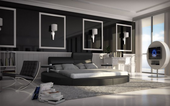 neu rundbett 140x200 evelin schwarz kunstleder bett. Black Bedroom Furniture Sets. Home Design Ideas
