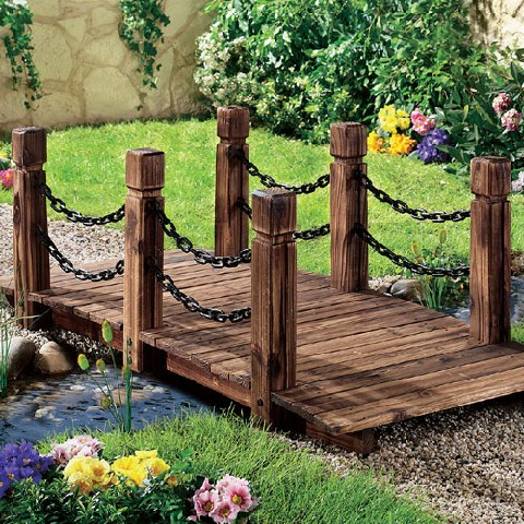 Gartenbrcke Mit Kette Gartensteg Steg Brcke Holz Garten Deko