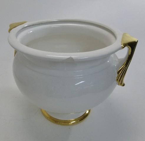 vase blumenvase blumentopf blumen keramikvase wei gold. Black Bedroom Furniture Sets. Home Design Ideas