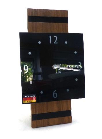wanduhr design schwarz holzoptik kericlock mineralglas holz quartz uhr glas ebay. Black Bedroom Furniture Sets. Home Design Ideas