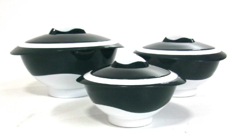 3 thermosch ssel wei gr n aufbewahrung sch ssel schale k che warmhalte ebay. Black Bedroom Furniture Sets. Home Design Ideas
