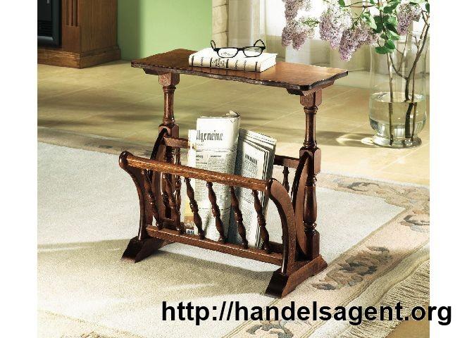 Zeitungsständer Holz Kirschbaum mit Ablagetisch Zeitungstisch Tisch